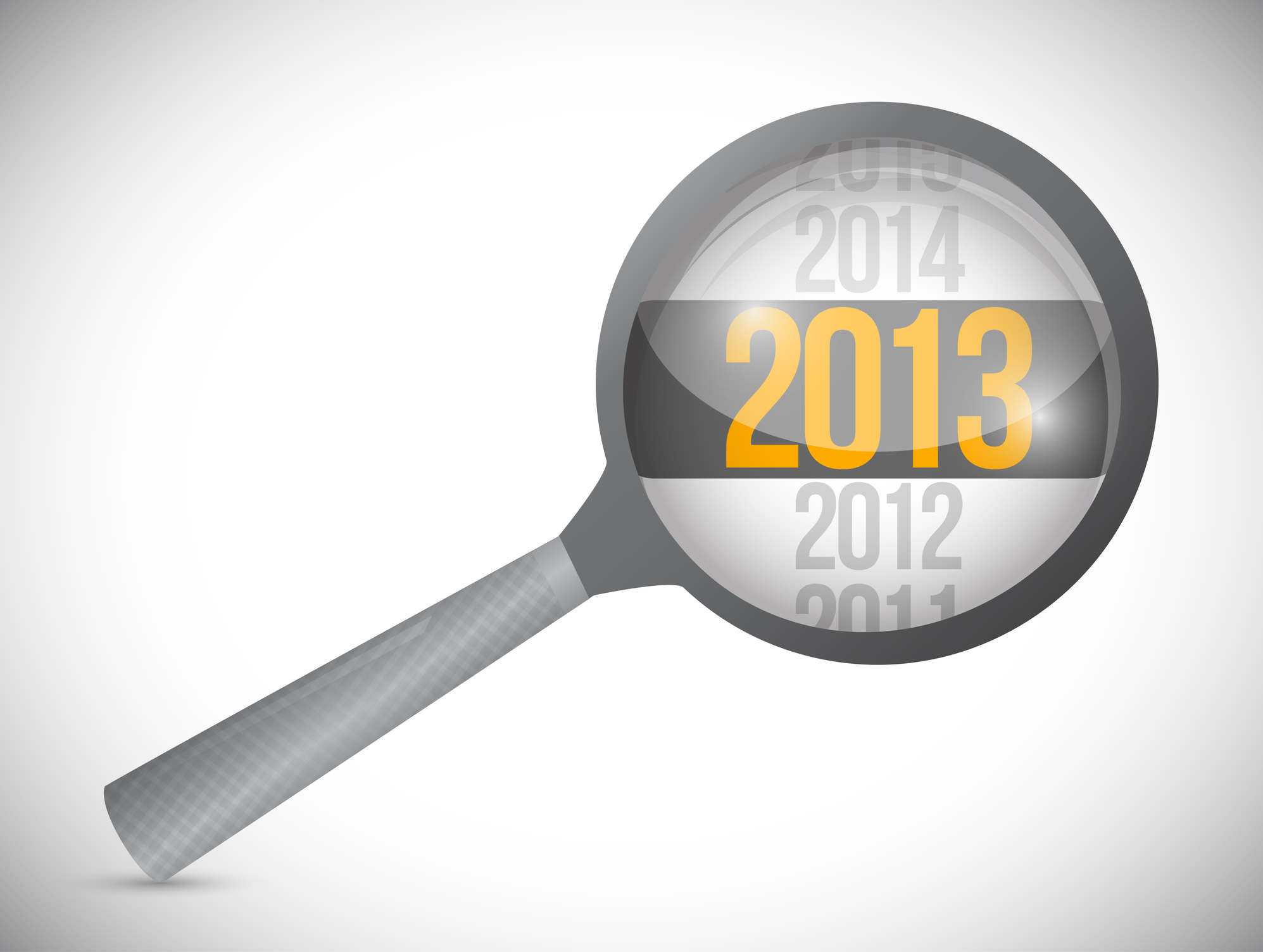 "An image of a magnifying glass with ""2013"" in bold."