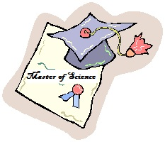"Graphic of an academic diploma that states ""Master of Science"" and graduation cap"