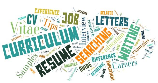 "Word cloud of words like ""Curriculum vitae,"" ""Resume,"" ""Job,"" ""Letters,"" ""Searching"""